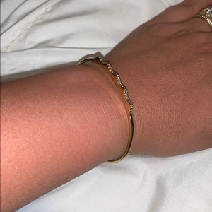Gold cuff thin bracelet